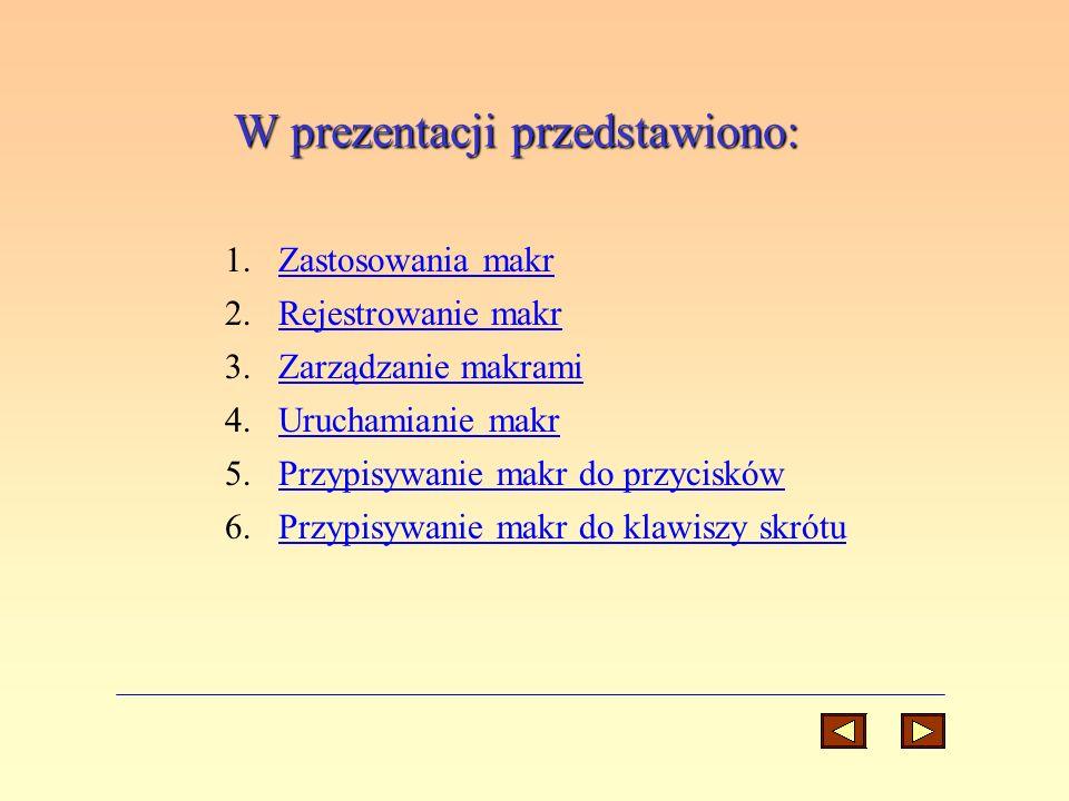 W prezentacji przedstawiono: 1.Zastosowania makrZastosowania makr 2.Rejestrowanie makrRejestrowanie makr 3.Zarządzanie makramiZarządzanie makrami 4.Ur