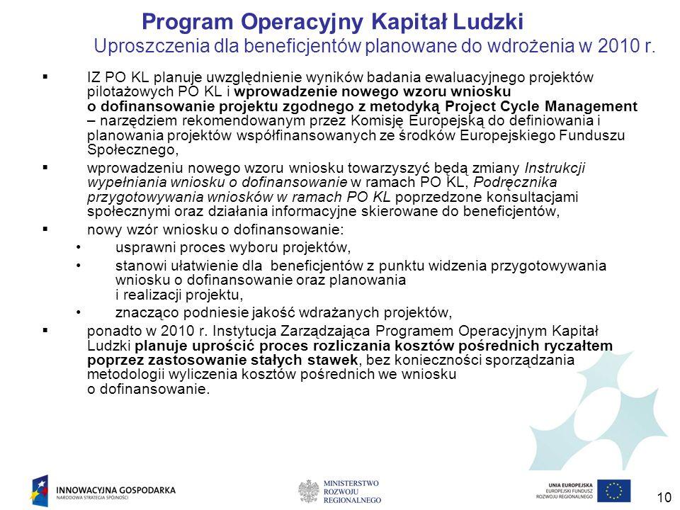 10 Program Operacyjny Kapitał Ludzki Uproszczenia dla beneficjentów planowane do wdrożenia w 2010 r.