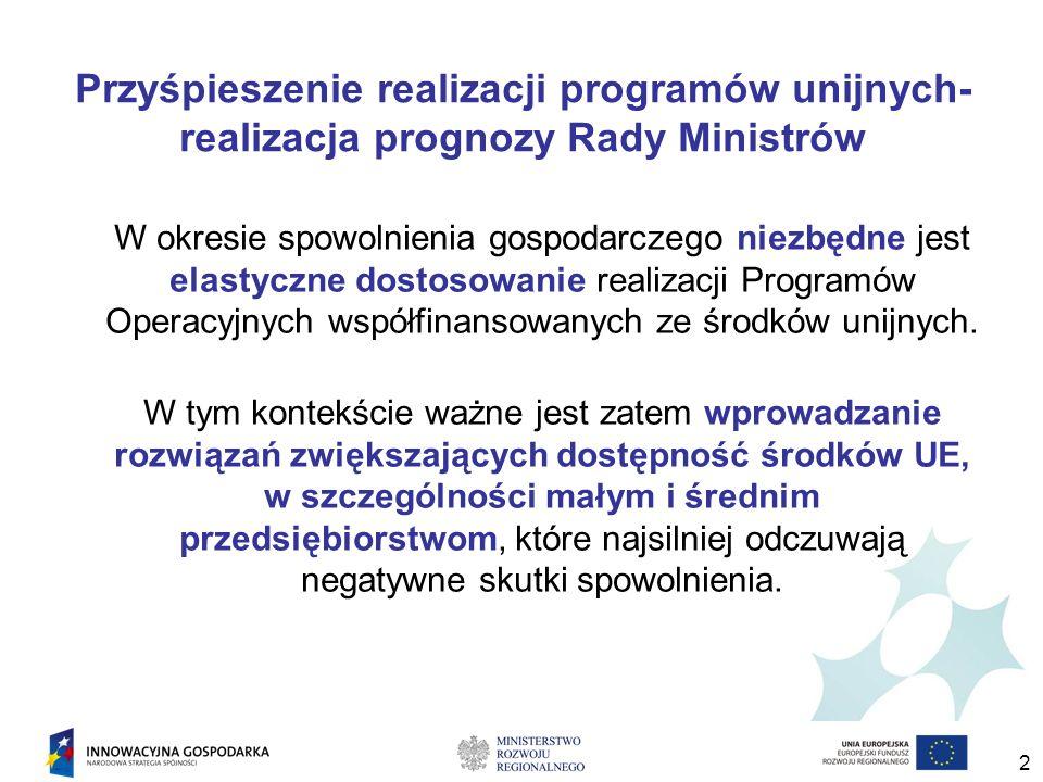 2 Przyśpieszenie realizacji programów unijnych- realizacja prognozy Rady Ministrów W okresie spowolnienia gospodarczego niezbędne jest elastyczne dostosowanie realizacji Programów Operacyjnych współfinansowanych ze środków unijnych.