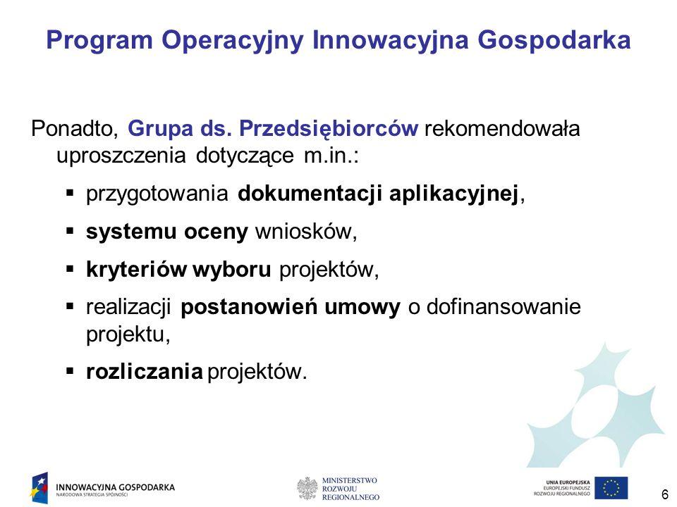 6 Program Operacyjny Innowacyjna Gospodarka Ponadto, Grupa ds.