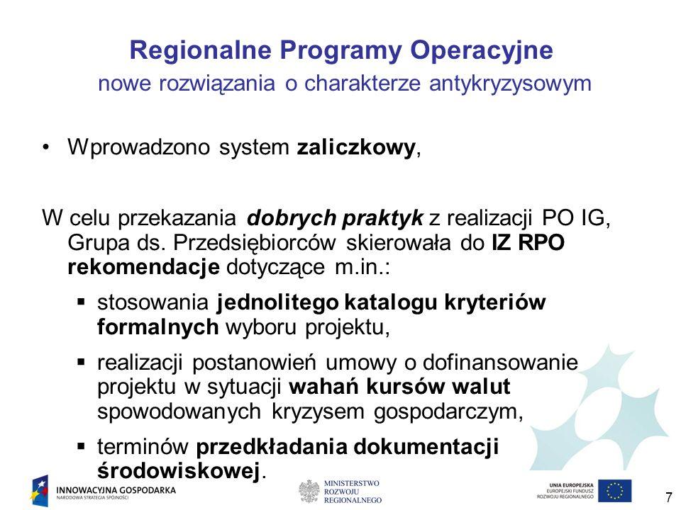 7 Regionalne Programy Operacyjne nowe rozwiązania o charakterze antykryzysowym Wprowadzono system zaliczkowy, W celu przekazania dobrych praktyk z realizacji PO IG, Grupa ds.