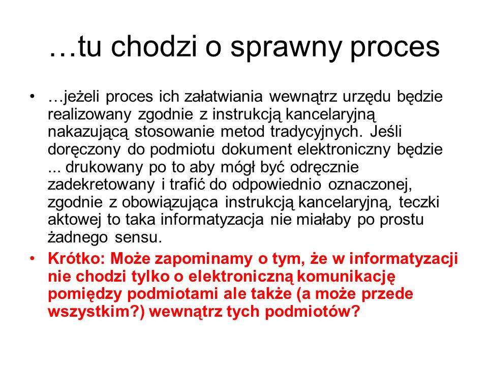 …tu chodzi o sprawny proces …jeżeli proces ich załatwiania wewnątrz urzędu będzie realizowany zgodnie z instrukcją kancelaryjną nakazującą stosowanie