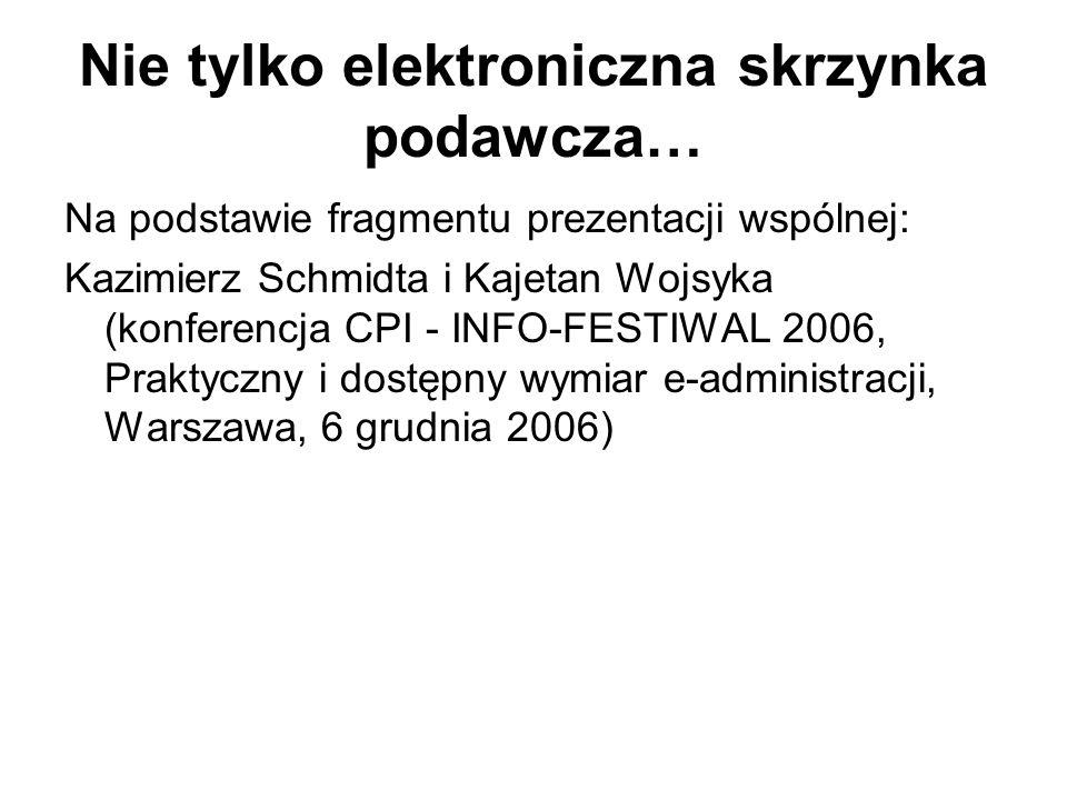 Nie tylko elektroniczna skrzynka podawcza… Na podstawie fragmentu prezentacji wspólnej: Kazimierz Schmidta i Kajetan Wojsyka (konferencja CPI - INFO-F