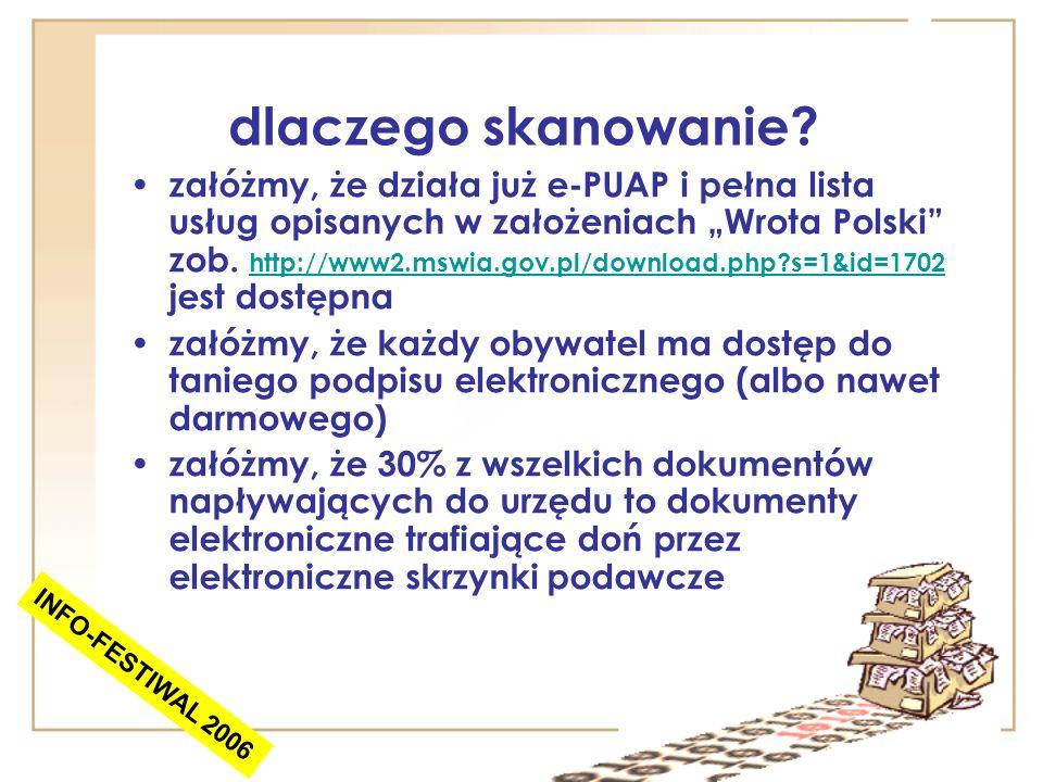 dlaczego skanowanie? załóżmy, że działa już e-PUAP i pełna lista usług opisanych w założeniach Wrota Polski zob. http://www2.mswia.gov.pl/download.php
