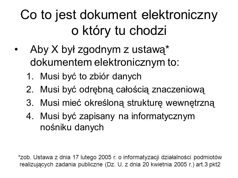 Co to jest dokument elektroniczny o który tu chodzi Aby X był zgodnym z ustawą* dokumentem elektronicznym to: 1.Musi być to zbiór danych 2.Musi być od