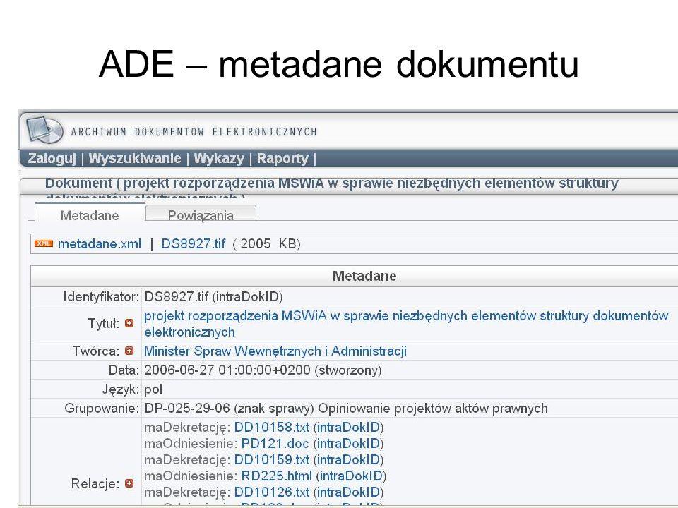 ADE – metadane dokumentu
