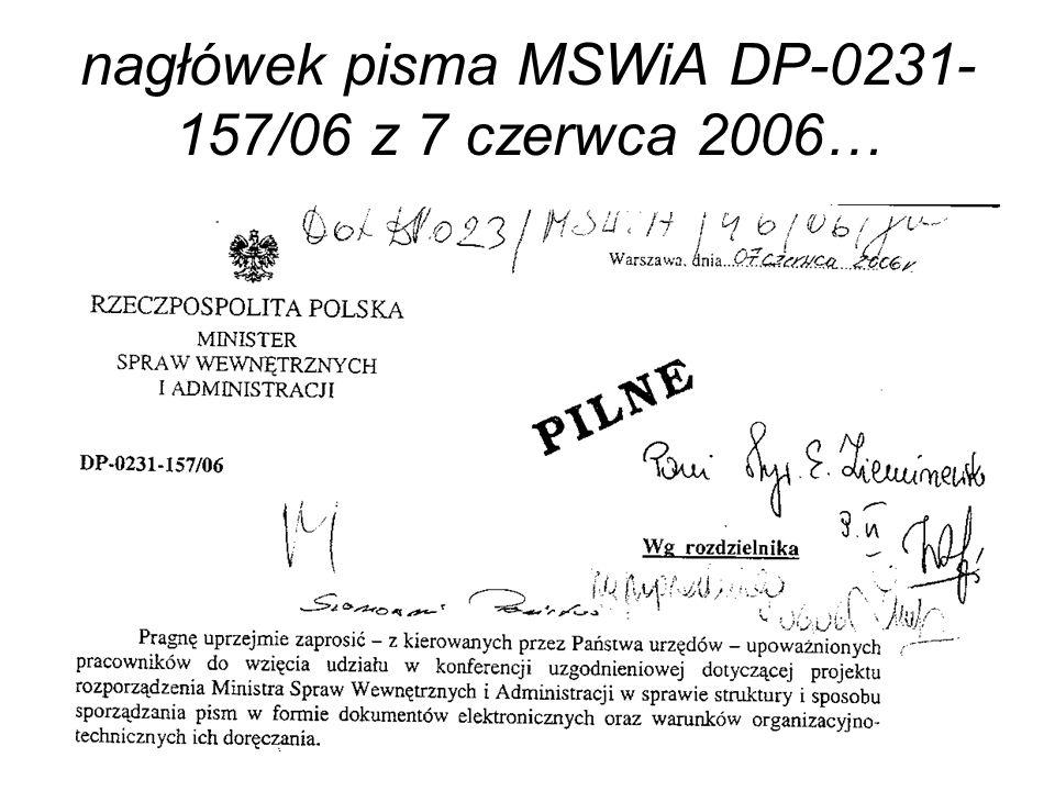 nagłówek pisma MSWiA DP-0231- 157/06 z 7 czerwca 2006…