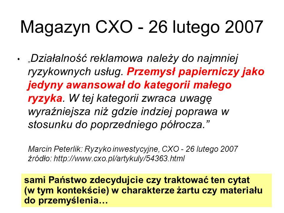 Magazyn CXO - 26 lutego 2007 Działalność reklamowa należy do najmniej ryzykownych usług. Przemysł papierniczy jako jedyny awansował do kategorii małeg