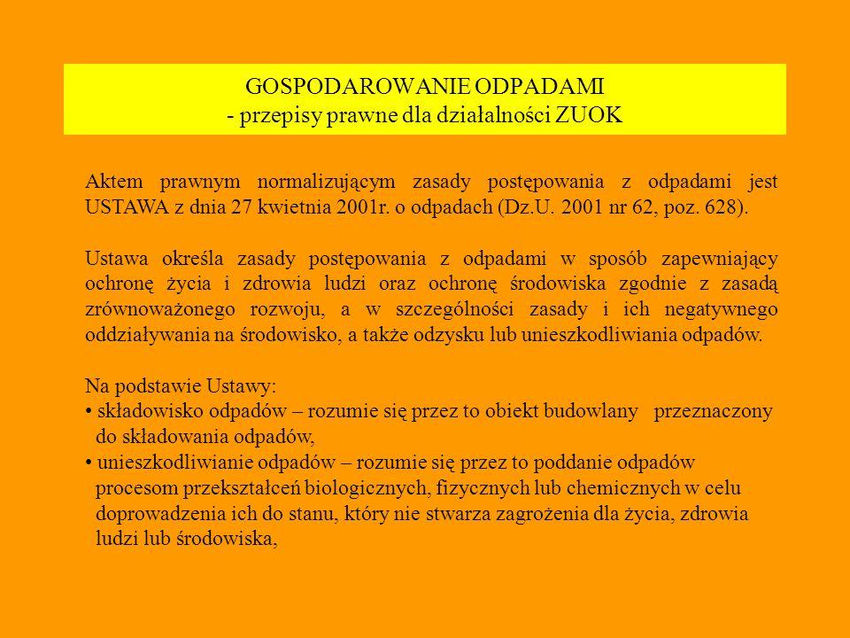 GOSPODAROWANIE ODPADAMI - przepisy prawne dla działalności ZUOK Aktem prawnym normalizującym zasady postępowania z odpadami jest USTAWA z dnia 27 kwietnia 2001r.