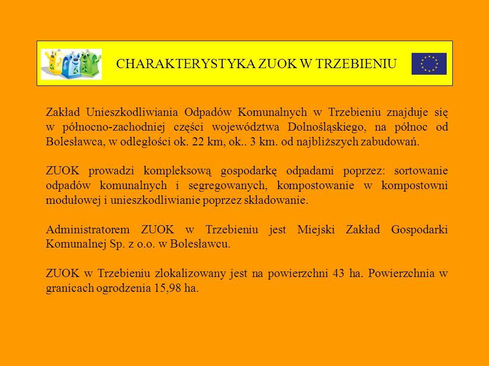 CHARAKTERYSTYKA ZUOK W TRZEBIENIU Zakład Unieszkodliwiania Odpadów Komunalnych w Trzebieniu znajduje się w północno-zachodniej części województwa Dolnośląskiego, na północ od Bolesławca, w odległości ok.