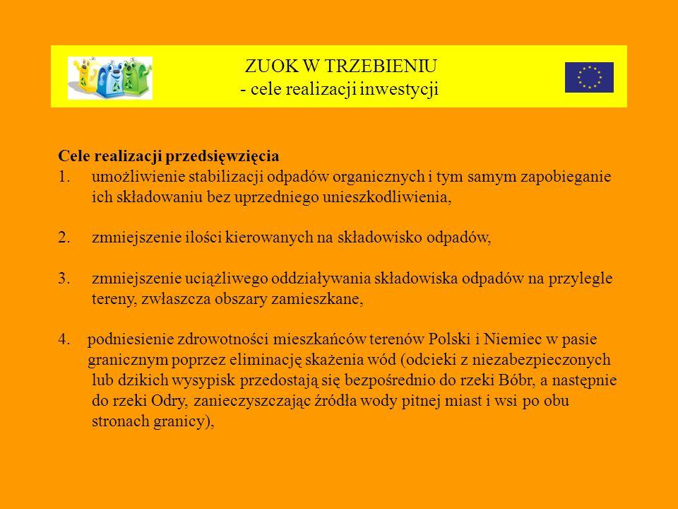 ZUOK W TRZEBIENIU - cele realizacji inwestycji Cele realizacji przedsięwzięcia 1.umożliwienie stabilizacji odpadów organicznych i tym samym zapobieganie ich składowaniu bez uprzedniego unieszkodliwienia, 2.
