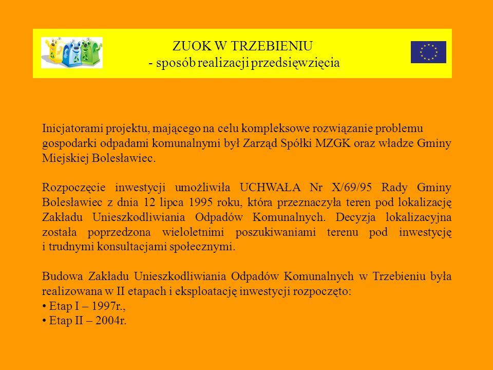 ZUOK W TRZEBIENIU - sposób realizacji przedsięwzięcia Inicjatorami projektu, mającego na celu kompleksowe rozwiązanie problemu gospodarki odpadami komunalnymi był Zarząd Spółki MZGK oraz władze Gminy Miejskiej Bolesławiec.