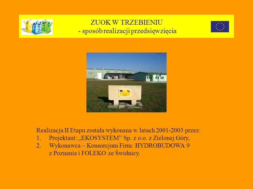 ZUOK W TRZEBIENIU - sposób realizacji przedsięwzięcia Realizacja II Etapu została wykonana w latach 2001-2003 przez: 1.Projektant: EKOSYSTEM Sp.