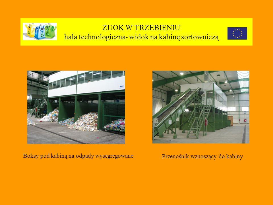 ZUOK W TRZEBIENIU hala technologiczna- widok na kabinę sortowniczą Boksy pod kabiną na odpady wysegregowane Przenośnik wznoszący do kabiny