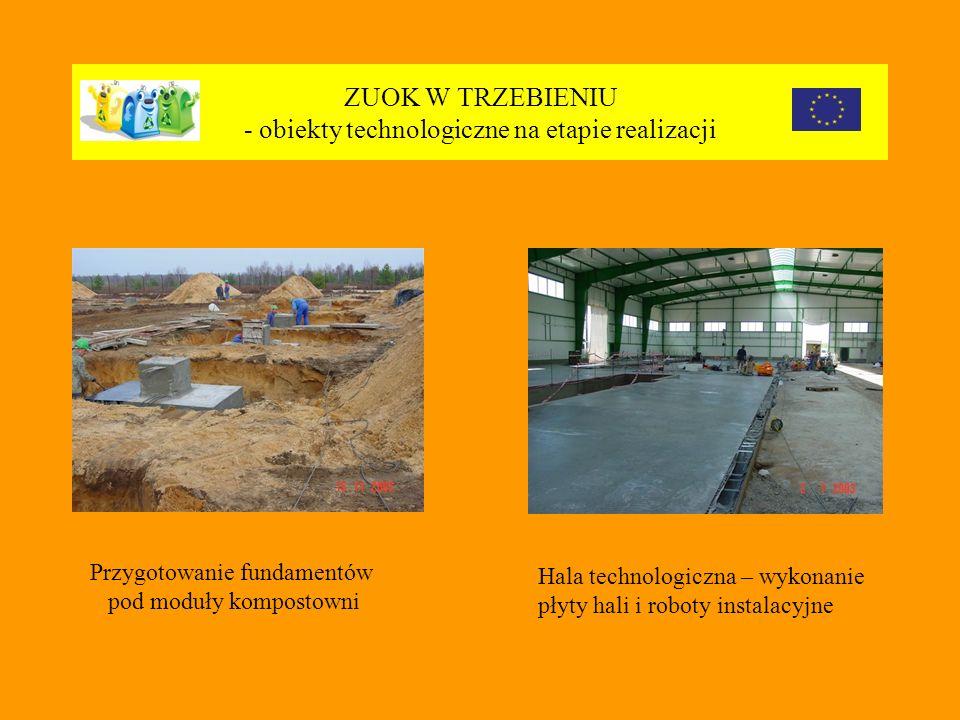 ZUOK W TRZEBIENIU - obiekty technologiczne na etapie realizacji Przygotowanie fundamentów pod moduły kompostowni Hala technologiczna – wykonanie płyty hali i roboty instalacyjne