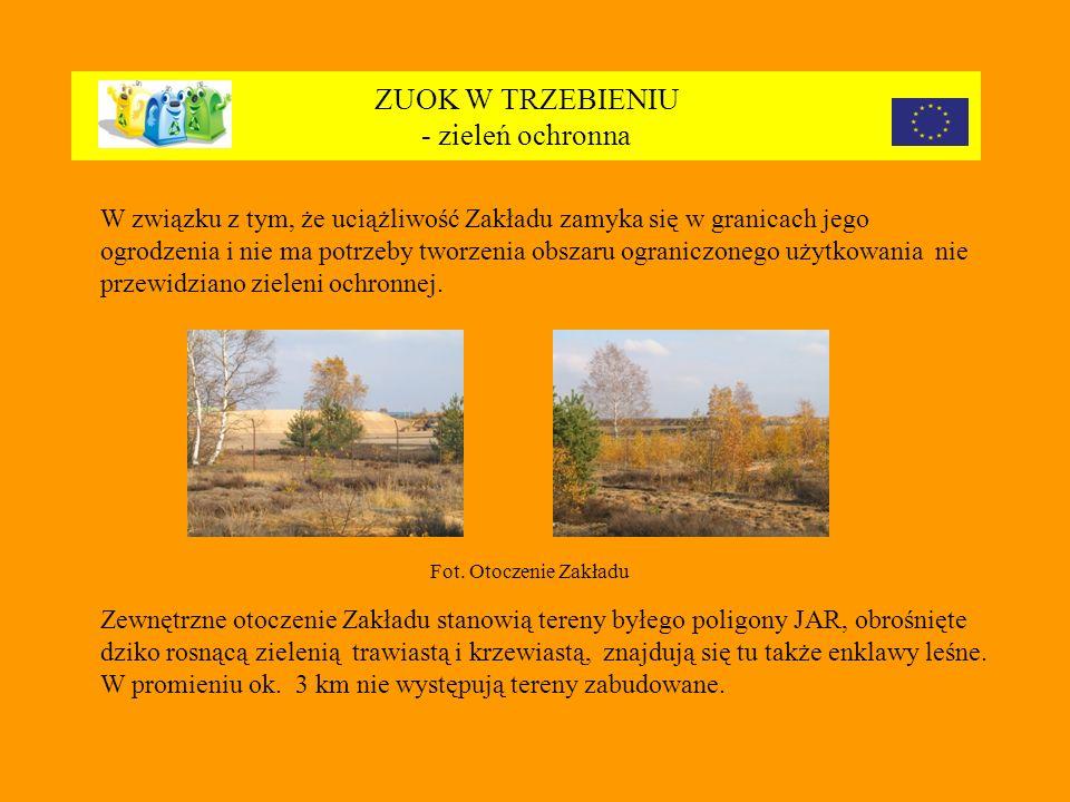 ZUOK W TRZEBIENIU - zieleń ochronna W związku z tym, że uciążliwość Zakładu zamyka się w granicach jego ogrodzenia i nie ma potrzeby tworzenia obszaru ograniczonego użytkowania nie przewidziano zieleni ochronnej.