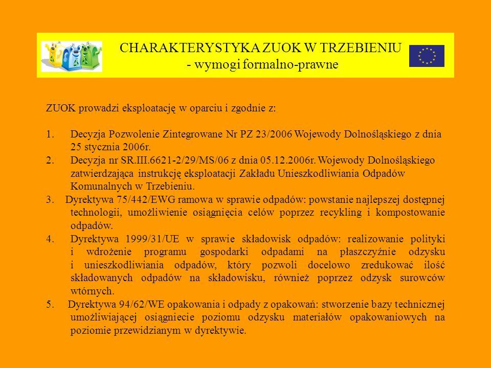 CHARAKTERYSTYKA ZUOK W TRZEBIENIU - wymogi formalno-prawne ZUOK prowadzi eksploatację w oparciu i zgodnie z: 1.Decyzja Pozwolenie Zintegrowane Nr PZ 23/2006 Wojewody Dolnośląskiego z dnia 25 stycznia 2006r.