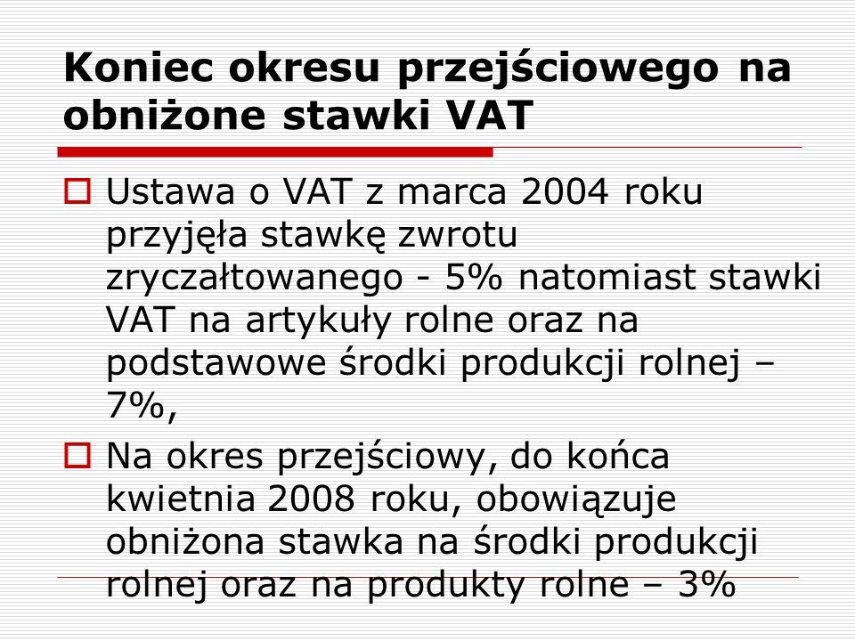 Koniec okresu przejściowego na obniżone stawki VAT Jest już pewne, że Komisja Europejska nie wyrazi zgody na przedłużenie okresu przejściowego dla stawki 3% VAT na środki produkcji, natomiast prawdopodobnie zostanie utrzymana stawka 3% na produkty rolne, Do chwili obecnej nie ma formalnie aktu prawnego, który potwierdzałby zgodę KE na obniżenie stawki VAT na produkty rolne