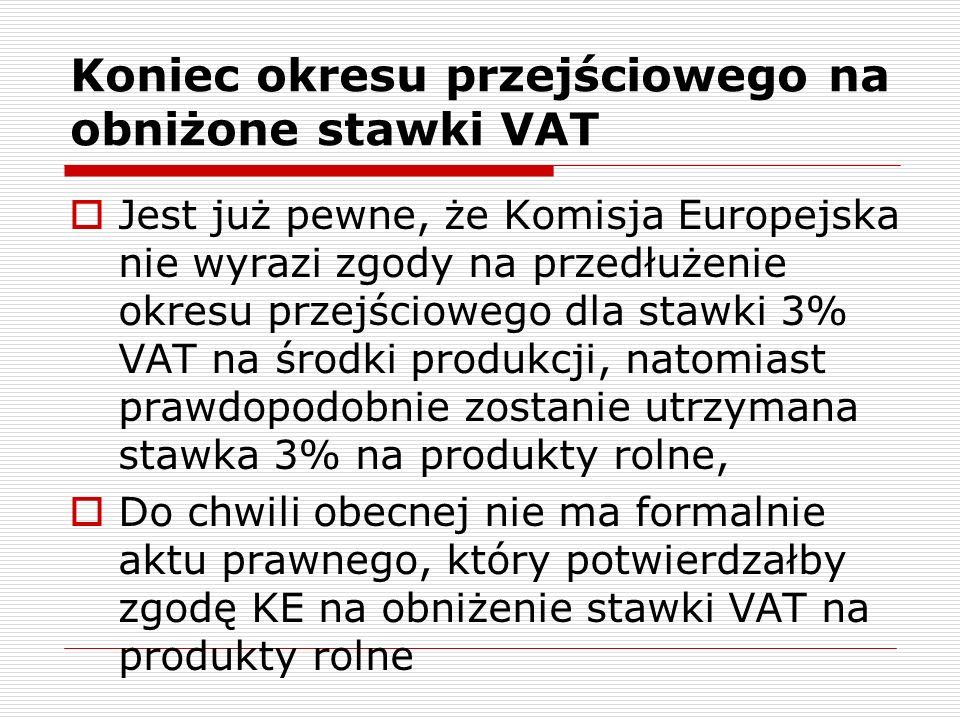 Skutki wprowadzenia zmian stawek VAT od 1 maja 2008 Rolnicy ryczałtowi – gwałtowne pogorszenie relacji zwrot zryczałtowany – podatek naliczony w środkach produkcji rolnej - praktycznie tylko w gospodarstwach o niskiej intensywności produkcji zwrot zryczałtowany pokryje wartość zapłaconego VAT w zakupionych środkach produkcji
