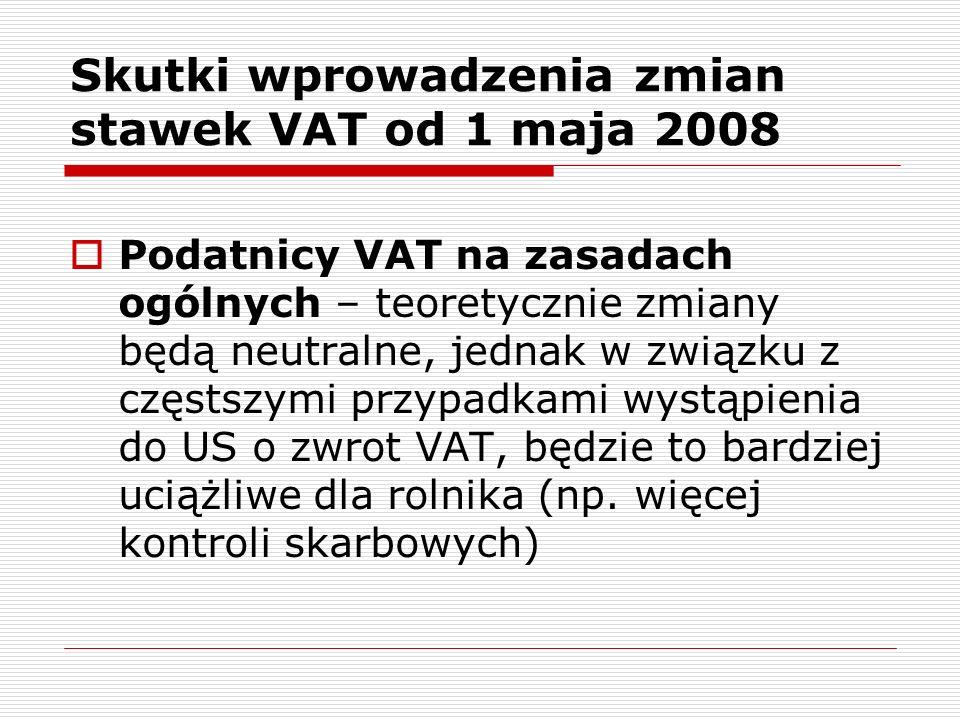 Wyższe stawki VAT na środki produkcji staną się powodem do rezygnacji ze zwolnienia coraz większej liczby rolników ryczałtowych Skutki wprowadzenia zmian stawek VAT od 1 maja 2008