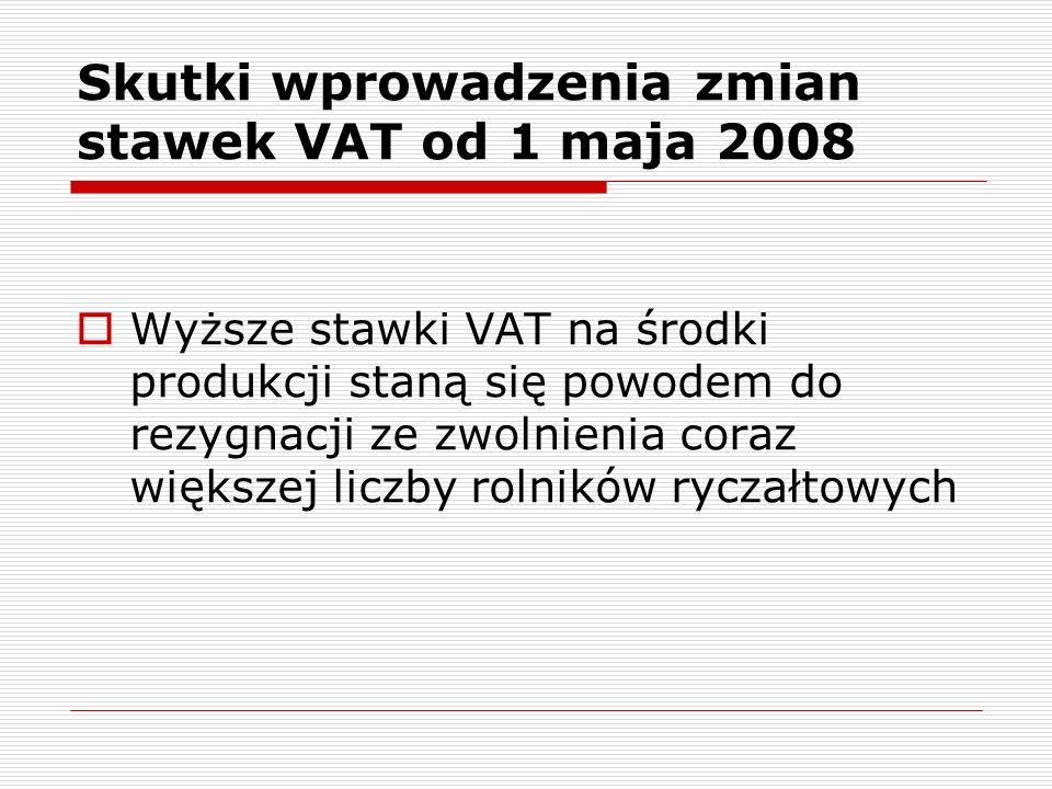 Zestawienie skutków planowanej podwyżki VAT na środki produkcji - rolnik ryczałtowy bez inwestycji Wyszczególnienie Przed podwyżką VAT Po wzroście stawek VAT Rolnik ryczałtowy Na 1 ha (zł) Wartość zwrotu zryczałtowanego 147,19 zł 239,94 zł VAT naliczony w środkach produkcji 120,12 zł 261,15 zł Nadwyżka zwrotu zryczałtowanego 27,06 zł- 21,20 zł Ogółem na gospodarstwo (zł) Wartość zwrotu zryczałtowanego 127 169,50 zł VAT naliczony w środkach produkcji 103 787,11 zł 138 408,09 zł Nadwyżka zwrotu zryczałtowanego 23 382,39 zł- 11 238,59 zł Produkcja roślinna, 530 ha