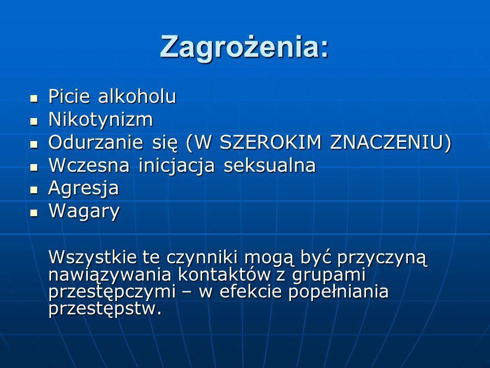 Zagrożenia: Picie alkoholu Picie alkoholu Nikotynizm Nikotynizm Odurzanie się (W SZEROKIM ZNACZENIU) Odurzanie się (W SZEROKIM ZNACZENIU) Wczesna inic