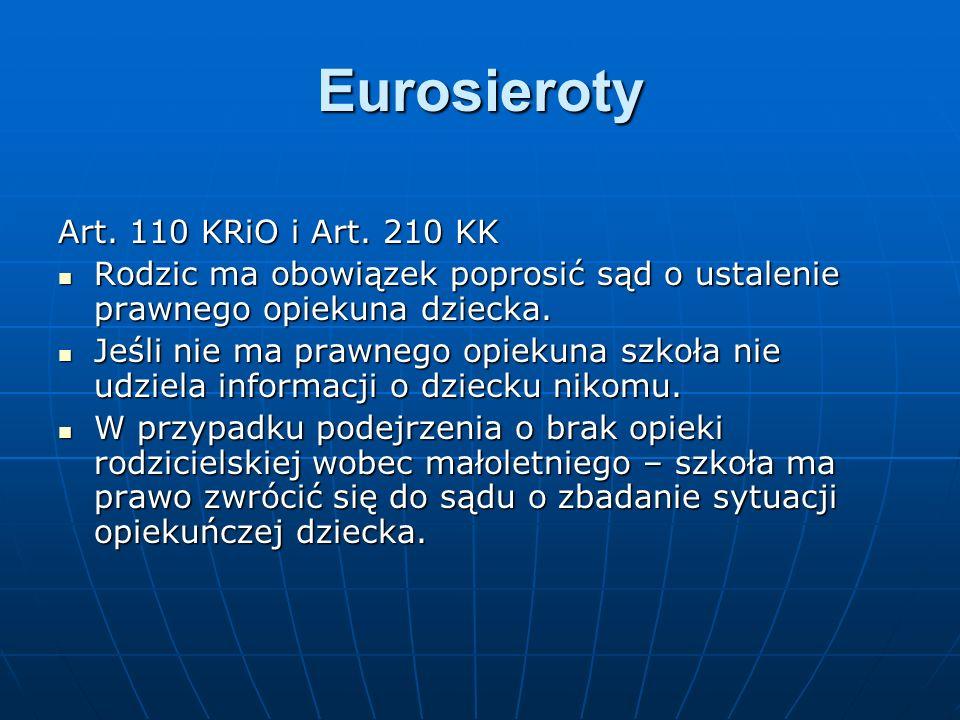 Eurosieroty Art. 110 KRiO i Art. 210 KK Rodzic ma obowiązek poprosić sąd o ustalenie prawnego opiekuna dziecka. Rodzic ma obowiązek poprosić sąd o ust