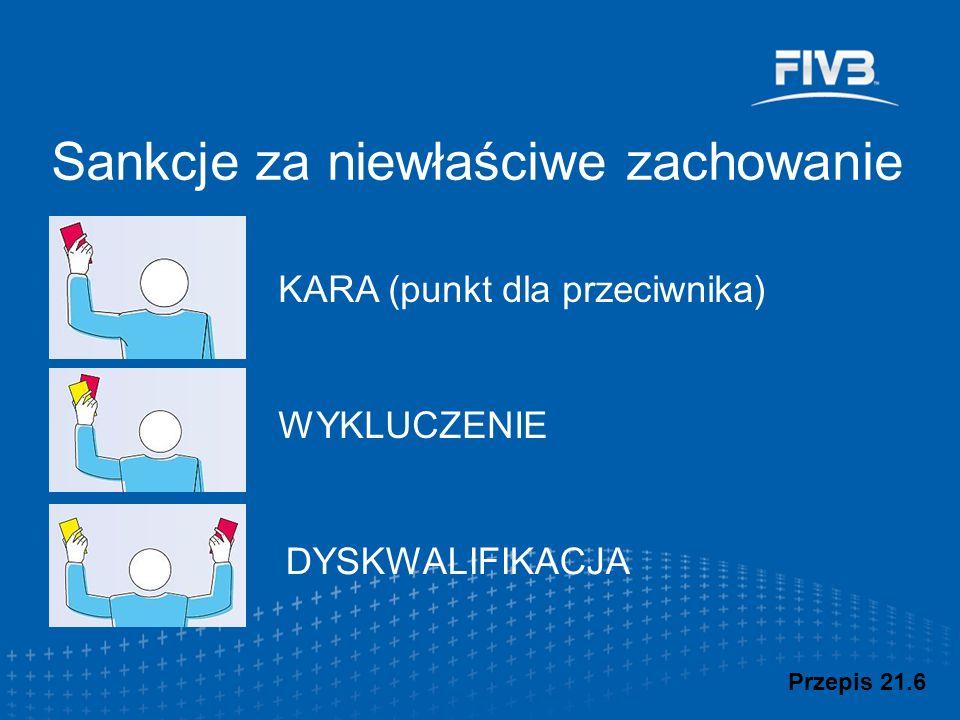 Sankcje za niewłaściwe zachowanie Przepis 21.6 KARA (punkt dla przeciwnika) WYKLUCZENIE DYSKWALIFIKACJA