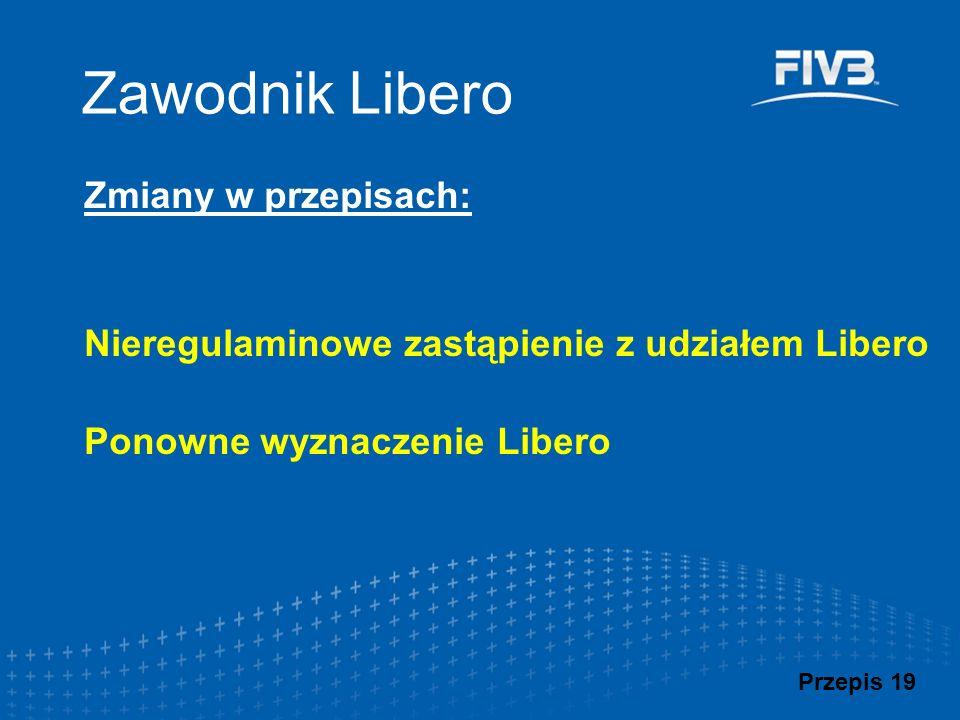Przykłady wyznaczania Libero (2/2) Libero 1 (zdarzenie pierwotne) Libero 2 (zdarzenie wtórne) Prawo do wyznaczenia Libero (w miejsce Libero 2) Uwagi Kontuzja*DyskwalifikacjaTAKZespół kontynuuje grę tylko z jednym Libero.