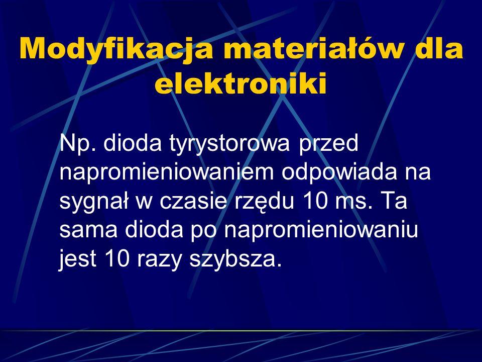 Modyfikacja materiałów dla elektroniki Np. dioda tyrystorowa przed napromieniowaniem odpowiada na sygnał w czasie rzędu 10 ms. Ta sama dioda po naprom