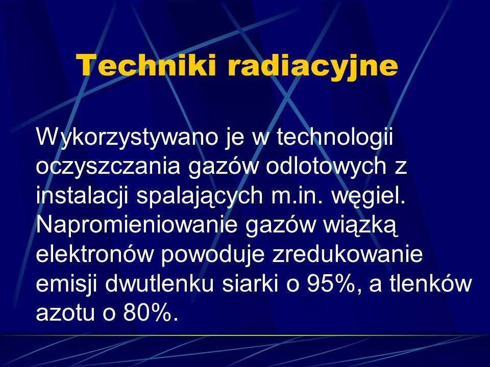 Techniki radiacyjne Wykorzystywano je w technologii oczyszczania gazów odlotowych z instalacji spalających m.in. węgiel. Napromieniowanie gazów wiązką