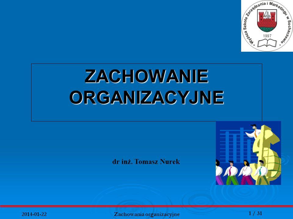 32 / 31 2014-01-22 Zachowania organizacyjne Zachowania menedżera jako funkcja potencjałów i charakteru sytuacji Potencjał menedżera: Wiedza, Mądrość życiowa, Talent organizacyjny, Wyobraźnia, Zdolności przywódcze, Potencjał podwładnych: Umiejętności zawodowe, Doświadczenie, Motywacje, Kreatywne myślenie, Zaufanie do kierownictwa Charakter sytuacji: Ekonomiczne, prawne, organizacyjne i techniczne warunki działania komunikacja Presja środowiska Presja wewnętrzna Postawa menedżera: Kompetencje, Pozycja w przedsiębiorstwie, Osobiste cele