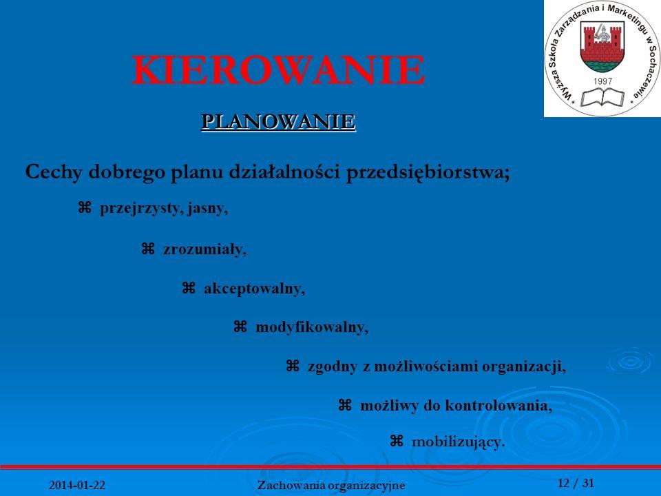 12 / 31 2014-01-22 Zachowania organizacyjne mobilizujący. KIEROWANIE PLANOWANIE Cechy dobrego planu działalności przedsiębiorstwa; przejrzysty, jasny,