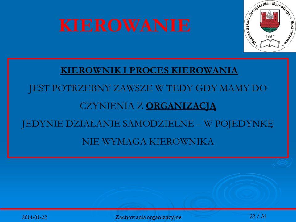 22 / 31 2014-01-22 Zachowania organizacyjne KIEROWNIK I PROCES KIEROWANIA JEST POTRZEBNY ZAWSZE W TEDY GDY MAMY DO CZYNIENIA Z ORGANIZACJĄ JEDYNIE DZI
