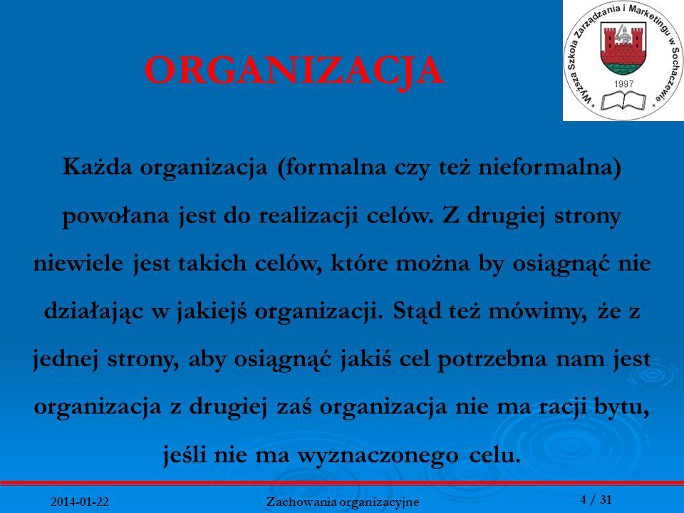4 / 31 2014-01-22 Zachowania organizacyjne ORGANIZACJA Każda organizacja (formalna czy też nieformalna) powołana jest do realizacji celów. Z drugiej s