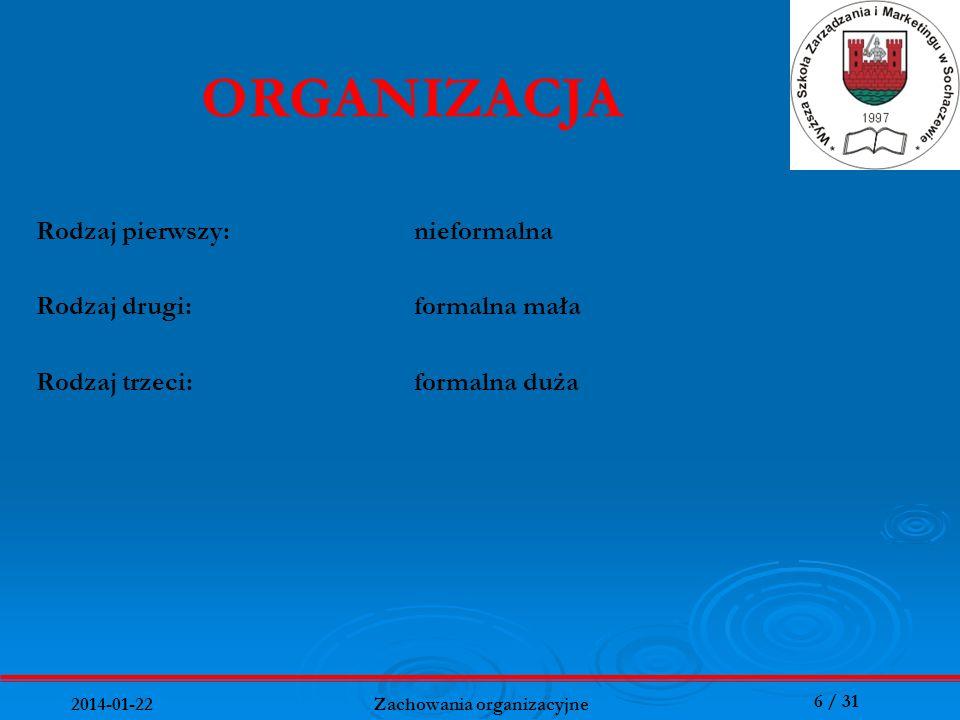 27 / 31 2014-01-22 Zachowania organizacyjne Najważniejsze cechy przywódcy: 1.Kwalifikacje zawodowe, wiedza psychologiczna, zdolności organizatorskie, 2.Umiejętności komunikowania się z ludźmi i rozumienia ludzi, 3.Odważne bezpośrednie zaangażowanie się w problemy i gotowość ponoszenia odpowiedzialności, 4.Poczucie własnej wartości, pewności siebie, przedsiębiorcze myślenie i zdolność zapamiętywania, 5.Umiejętność kalkulacji i ryzykowania, poszukiwania szans i szybkiego reagowania na pojawiające się sposobności,