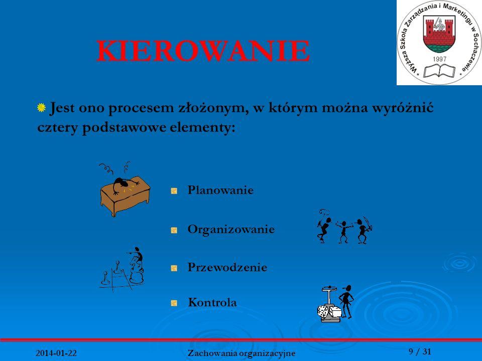9 / 31 2014-01-22 Zachowania organizacyjne Kontrola KIEROWANIE Jest ono procesem złożonym, w którym można wyróżnić cztery podstawowe elementy: Planowa