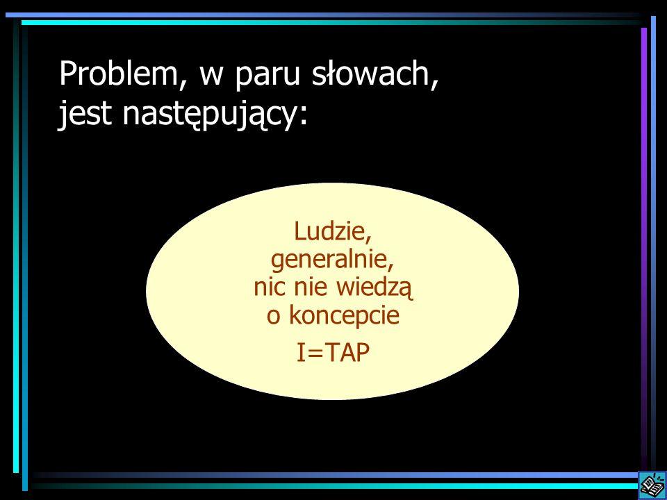 Problem, w paru słowach, jest następujący: Ludzie, generalnie, nic nie wiedzą o koncepcie I=TAP