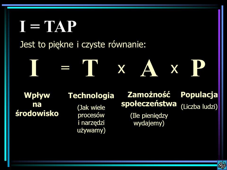 Wpływ na środowisko = Populacja (Liczba ludzi) Zamożność społeczeństwa (Ile pieniędzy wydajemy) Technologia (Jak wiele procesów i narzędzi używamy) I = TAP xx I PAT Jest to piękne i czyste równanie: