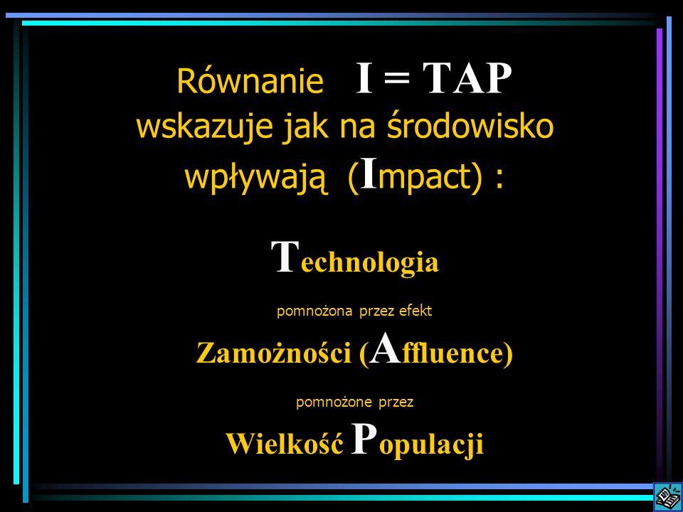 T echnologia pomnożona przez efekt Zamożności ( A ffluence) pomnożone przez Wielkość P opulacji Równanie I = TAP wskazuje jak na środowisko wpływają ( I mpact) :