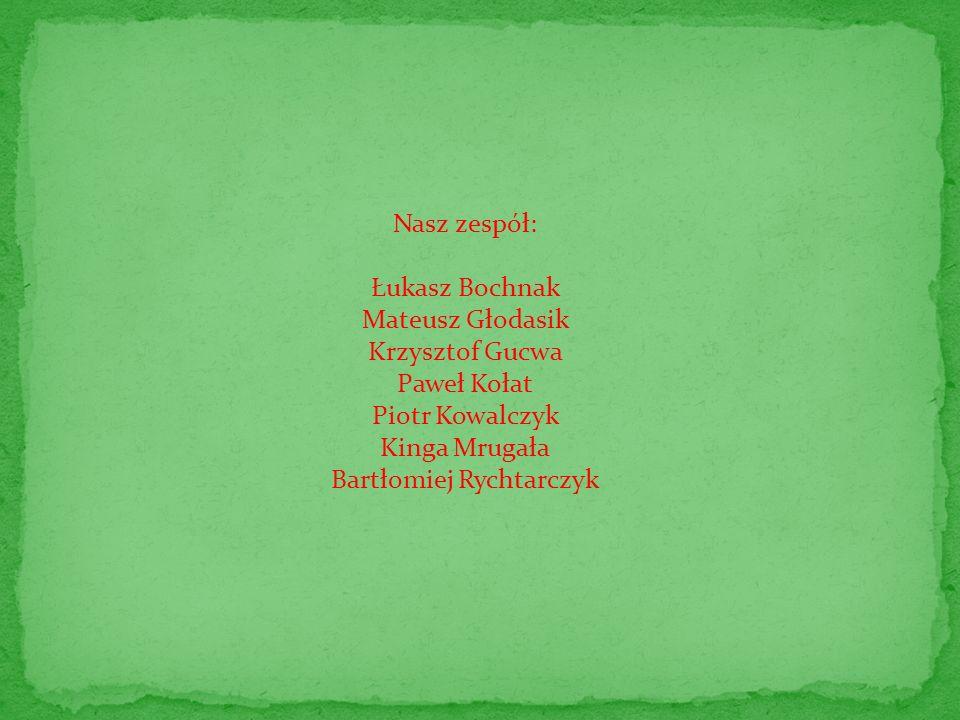 Nasz zespół: Łukasz Bochnak Mateusz Głodasik Krzysztof Gucwa Paweł Kołat Piotr Kowalczyk Kinga Mrugała Bartłomiej Rychtarczyk