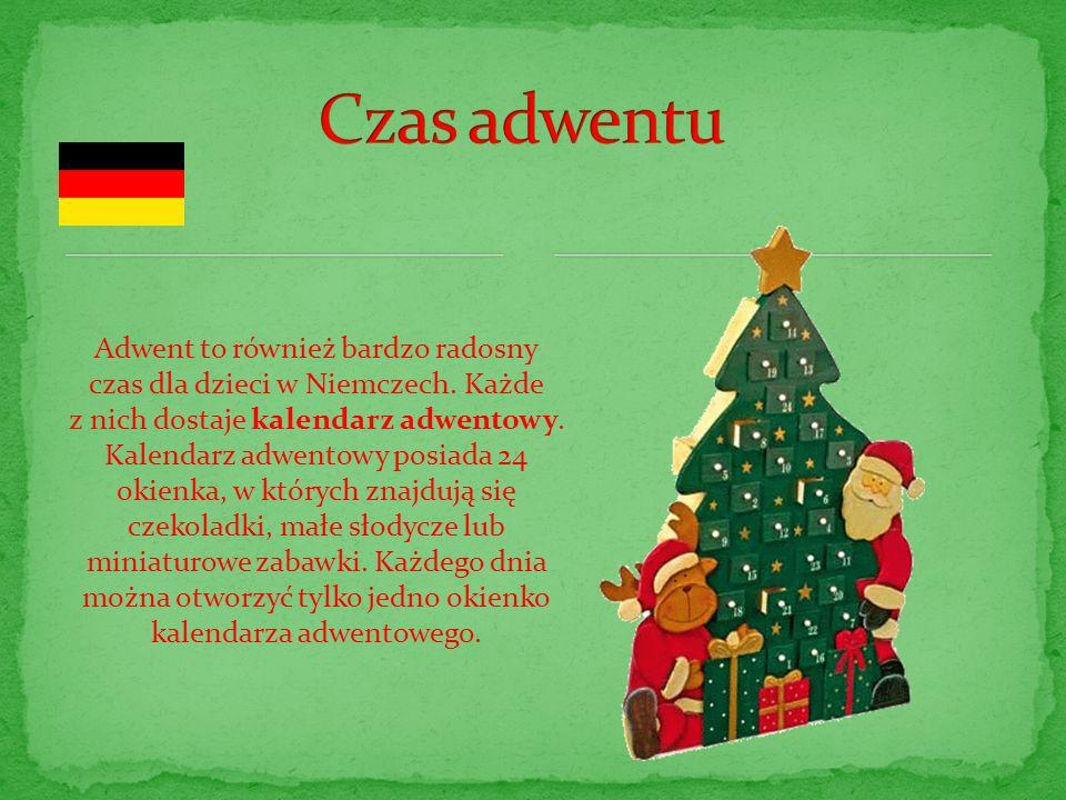 Adwent to również bardzo radosny czas dla dzieci w Niemczech. Każde z nich dostaje kalendarz adwentowy. Kalendarz adwentowy posiada 24 okienka, w któr