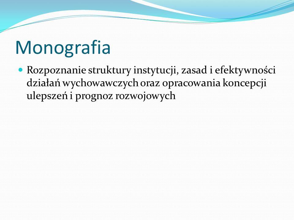 Monografia Rozpoznanie struktury instytucji, zasad i efektywności działań wychowawczych oraz opracowania koncepcji ulepszeń i prognoz rozwojowych