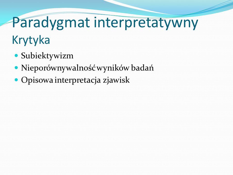 Paradygmat interpretatywny Krytyka Subiektywizm Nieporównywalność wyników badań Opisowa interpretacja zjawisk