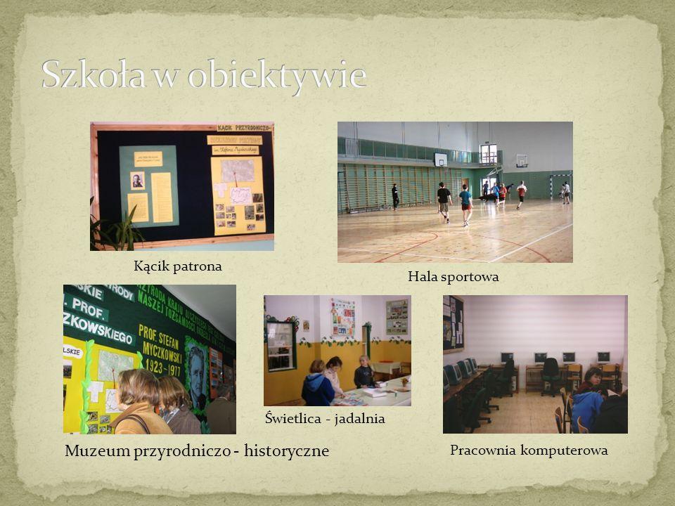 Kącik patrona Hala sportowa Muzeum przyrodniczo - historyczne Pracownia komputerowa Świetlica - jadalnia