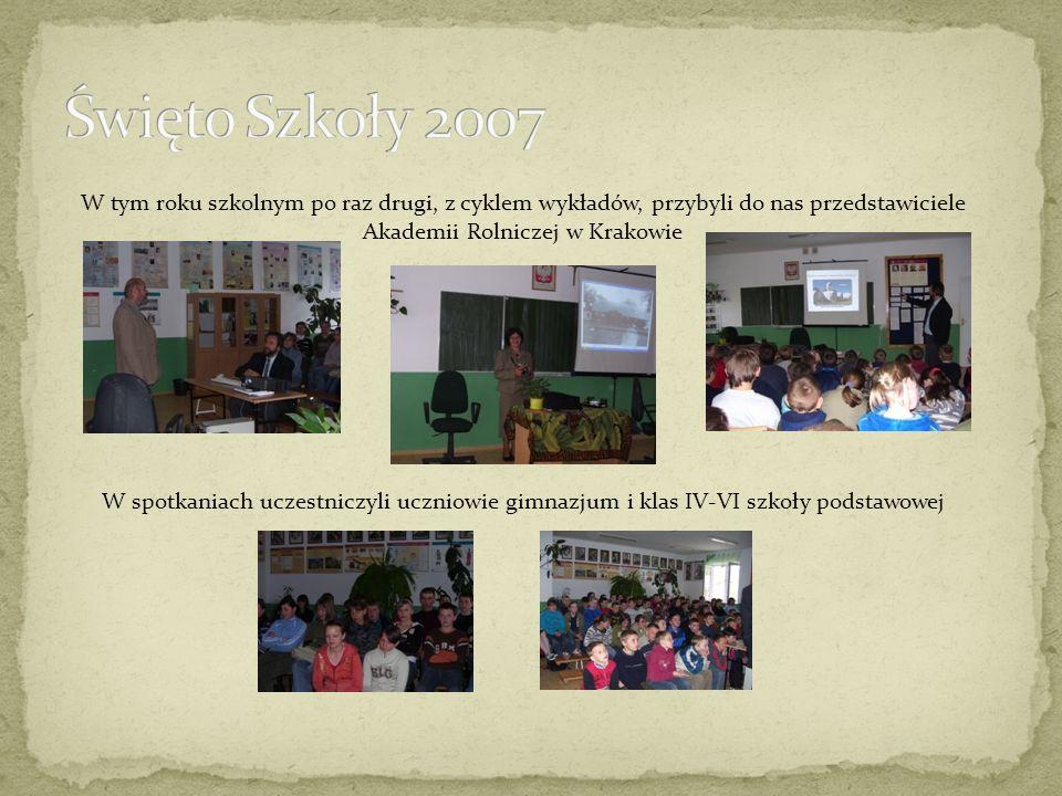 W tym roku szkolnym po raz drugi, z cyklem wykładów, przybyli do nas przedstawiciele Akademii Rolniczej w Krakowie W spotkaniach uczestniczyli uczniowie gimnazjum i klas IV-VI szkoły podstawowej