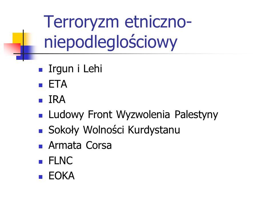 Terroryzm etniczno- niepodleglościowy Irgun i Lehi ETA IRA Ludowy Front Wyzwolenia Palestyny Sokoły Wolności Kurdystanu Armata Corsa FLNC EOKA