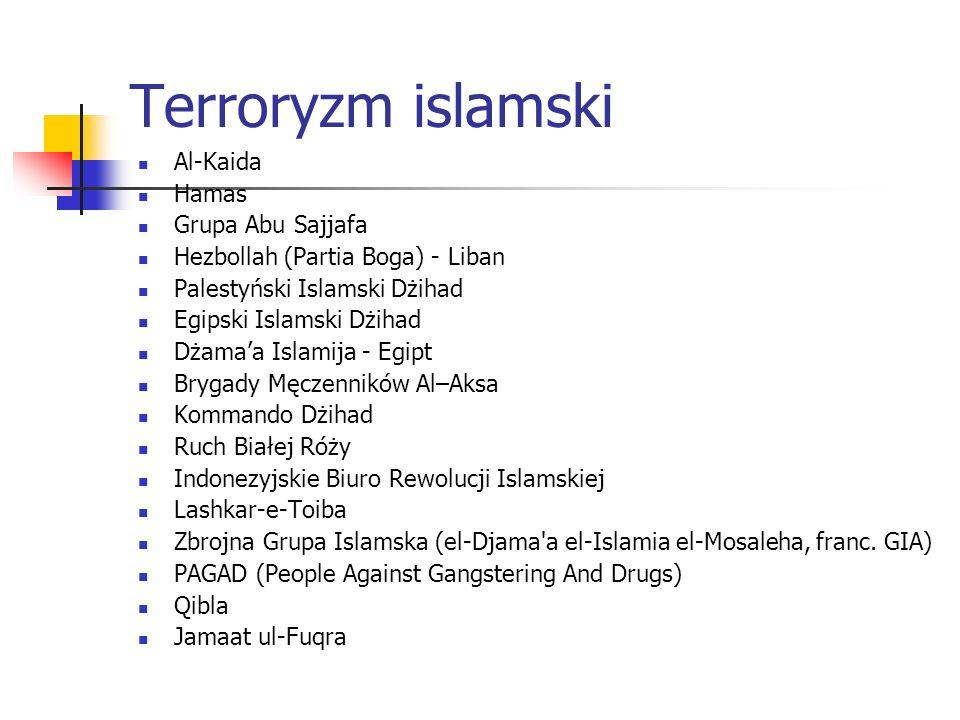 Terroryzm islamski Al-Kaida Hamas Grupa Abu Sajjafa Hezbollah (Partia Boga) - Liban Palestyński Islamski Dżihad Egipski Islamski Dżihad Dżamaa Islamija - Egipt Brygady Męczenników Al–Aksa Kommando Dżihad Ruch Białej Róży Indonezyjskie Biuro Rewolucji Islamskiej Lashkar-e-Toiba Zbrojna Grupa Islamska (el-Djama a el-Islamia el-Mosaleha, franc.