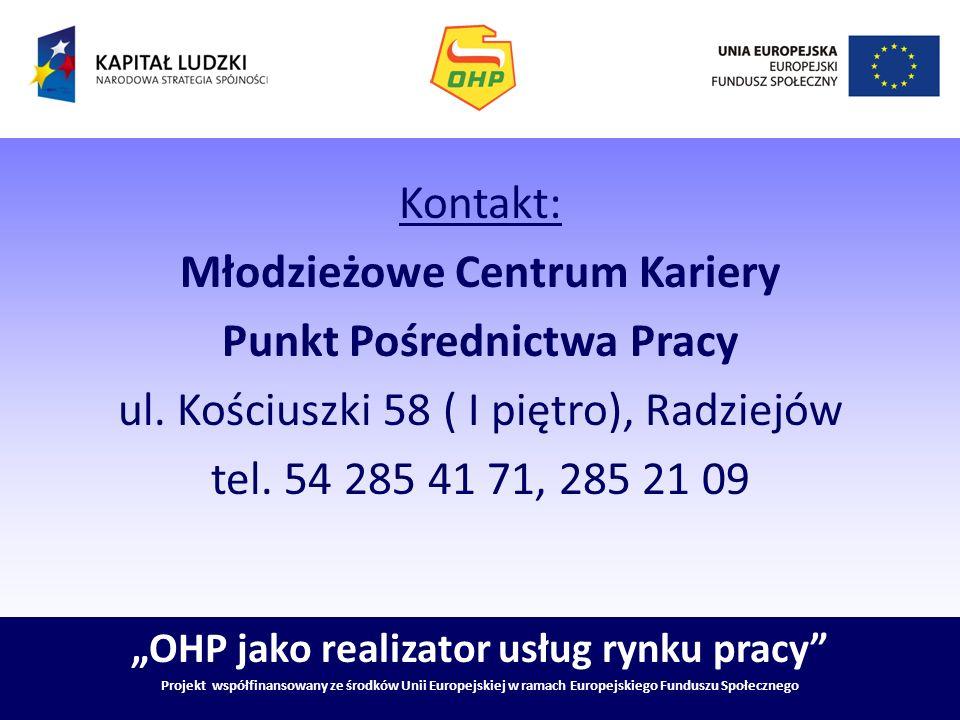 OHP jako realizator usług rynku pracy Projekt współfinansowany ze środków Unii Europejskiej w ramach Europejskiego Funduszu Społecznego Kontakt: Młodz