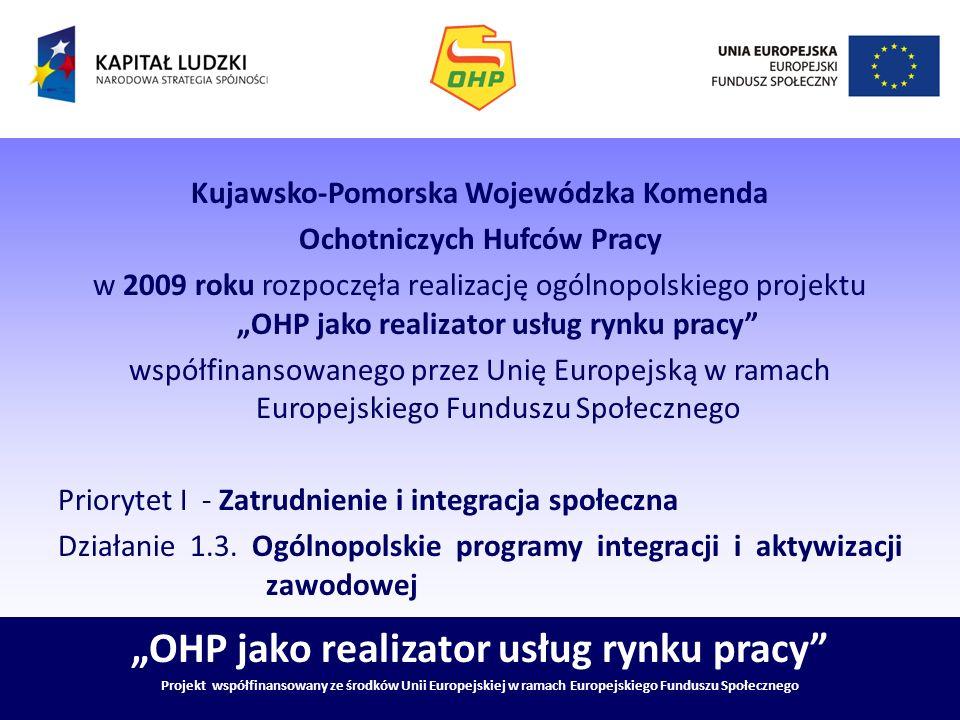 OHP jako realizator usług rynku pracy Projekt współfinansowany ze środków Unii Europejskiej w ramach Europejskiego Funduszu Społecznego Ochotnicze Hufce Pracy- państwowa jednostką wyspecjalizowaną w działaniach na rzecz młodzieży, w szczególności młodzieży zagrożonej wykluczeniem społecznym, oraz bezrobotnych w wieku 15-25 lat.